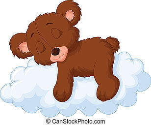 Cute bear cartoon sleeping on the c - Vector illustration of...