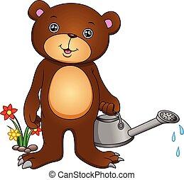 cute bear cartoon watering flowers on a white background