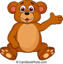 Cute bear cartoon waving