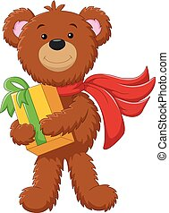 cute bear holding gift box