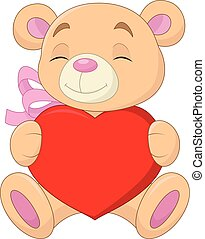 Cute bear holding heart