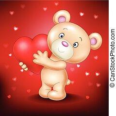 Cute bear holding red heart