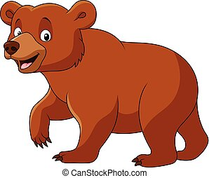 Cute bear walking isolated - Vector illustration of Cute...