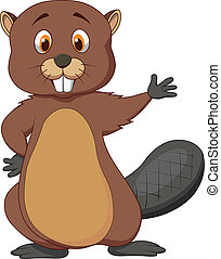 Vector illustration of Cute beaver cartoon waving