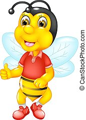 cute bee cartoon posing smile with thumb up