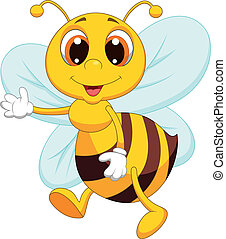 Cute bee cartoon waving - Vector illustration of Cute bee...