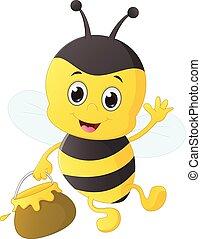 vector illustration of cute bee holding honey pot