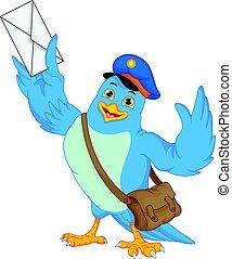 Cute bird holding a mail