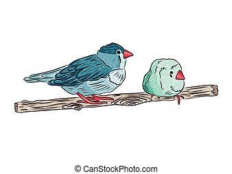 vector illustration of cute birds sitting on tree branches