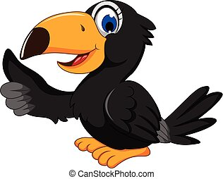 cute black bird cartoon thumb up