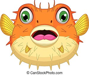 cute Blowfish or diodon holocanthus