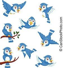 cute blue bird cartoon collection