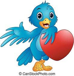 Cute blue bird cartoon holding a love heart