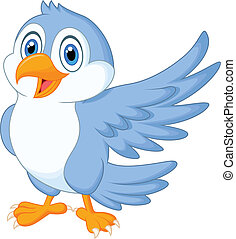 Cute blue bird cartoon waving