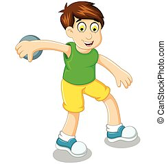 cute boy athlete doing discus throwing