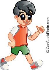 Cute boy cartoon giving thumb up