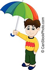 cute boy cartoon holding umbrella