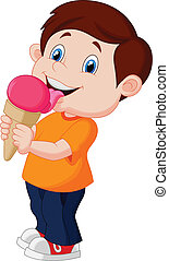 Cute boy cartoon licking ice cream - Vector illustration of...