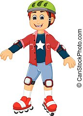 cute boy cartoon playing roller skates