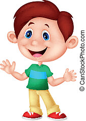 Cute boy cartoon posing