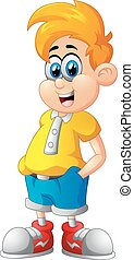 Cute boy cartoon posing