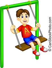 cute boy cartoon sitting on swing with laughing