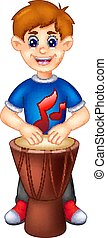 cute boy cartoon sitting with playing drum