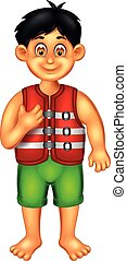cute boy cartoon standing using buoy with smile and thumb up