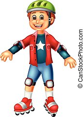 cute boy cartoon standing using roller skates with smiling and waving