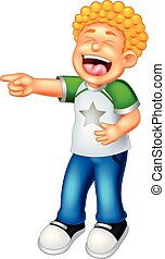 cute boy cartoon standing with pointing and laughing