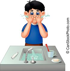 cute boy cartoon standing with smile and washing face