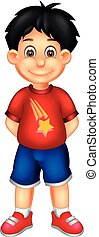 cute boy cartoon standing with smiling