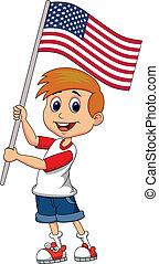 Cute boy cartoon waving with Americ