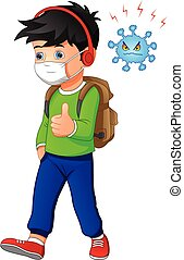 cute Boy cartoon wearing breath mask for virus protect