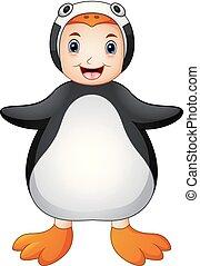 Cute boy cartoon wearing penguin costume