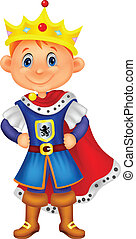 Vector illustration of Cute boy cartoon with king costume