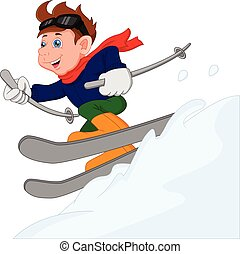 cute boy is skiing. Boy is sliding on the ski sled