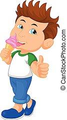 vector illustration of Cute boy licking ice cream