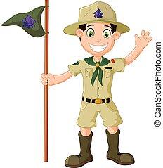 vector illustration of cute boy scout cartoon waving