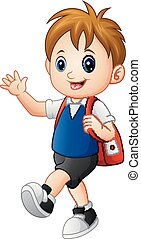 Cute boy walking to school with a backpack
