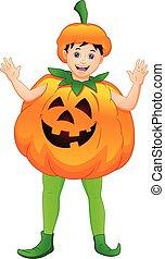 cute boy wearing a pumpkin costume