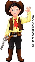 cute boy wearing costume cowboy