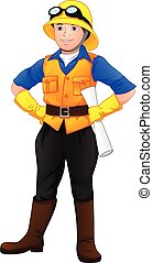 cute boy wearing project foreman outfit - vector ...