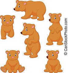 Cute brown bear cartoon collection