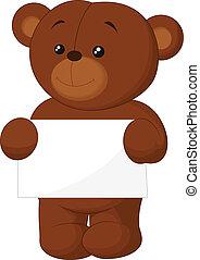 Cute brown bear cartoon holding bla