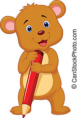 Cute brown bear cartoon holding red
