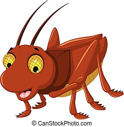 cute brown grasshopper cartoon