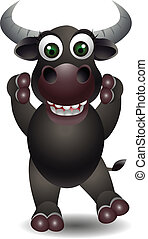 vector illustration of cute buffalo cartoon