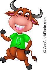 cute bull cartoon dancing with laughing and waving