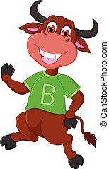 cute bull cartoon dancing with laughing and waving